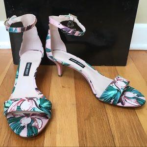 NINE WEST Floral Kitten Heel Ankle Strap Sandals